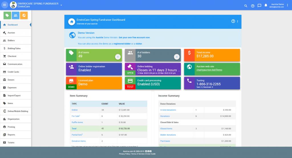 Screenshot of the Auctria user dashboard