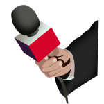 Hand holding a news microphone