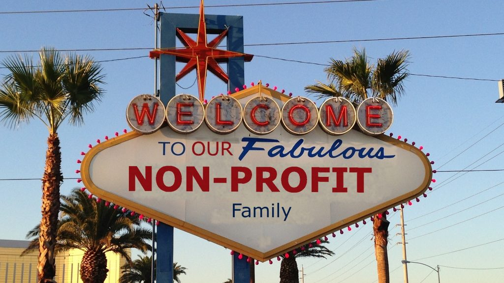 """Las Vegas Sign but with the words, """"Welcome to our fabulous non-profit family"""""""