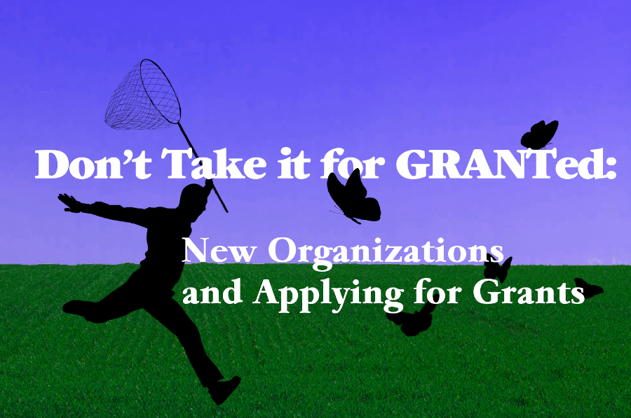 "Man trying to capture butterflys with the text, ""Don't take it for granted: New organizations and applying for grants"""
