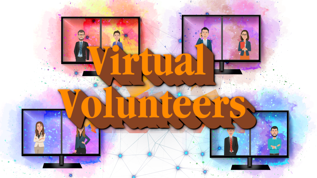 "Computer screens with a splash of color behind and two people virtually meeting on each. The text ""virtual volunteers"" overlays the image."