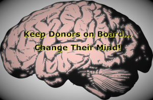 "Stylized image of a brain with the title ""Keep Donors on Board...Change Their Mind!"