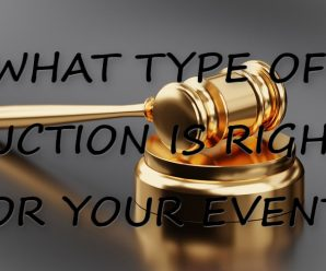"Image of gavel with text over it saying, ""What type of auction is right for your event?"
