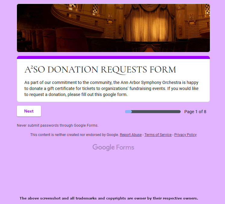 Ann Arbor Symphony Orchestra Form Page - https://a2so.com/