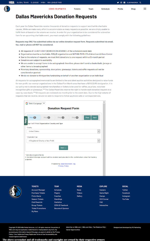 Dallas Mavericks form page - http://www.mavs.com