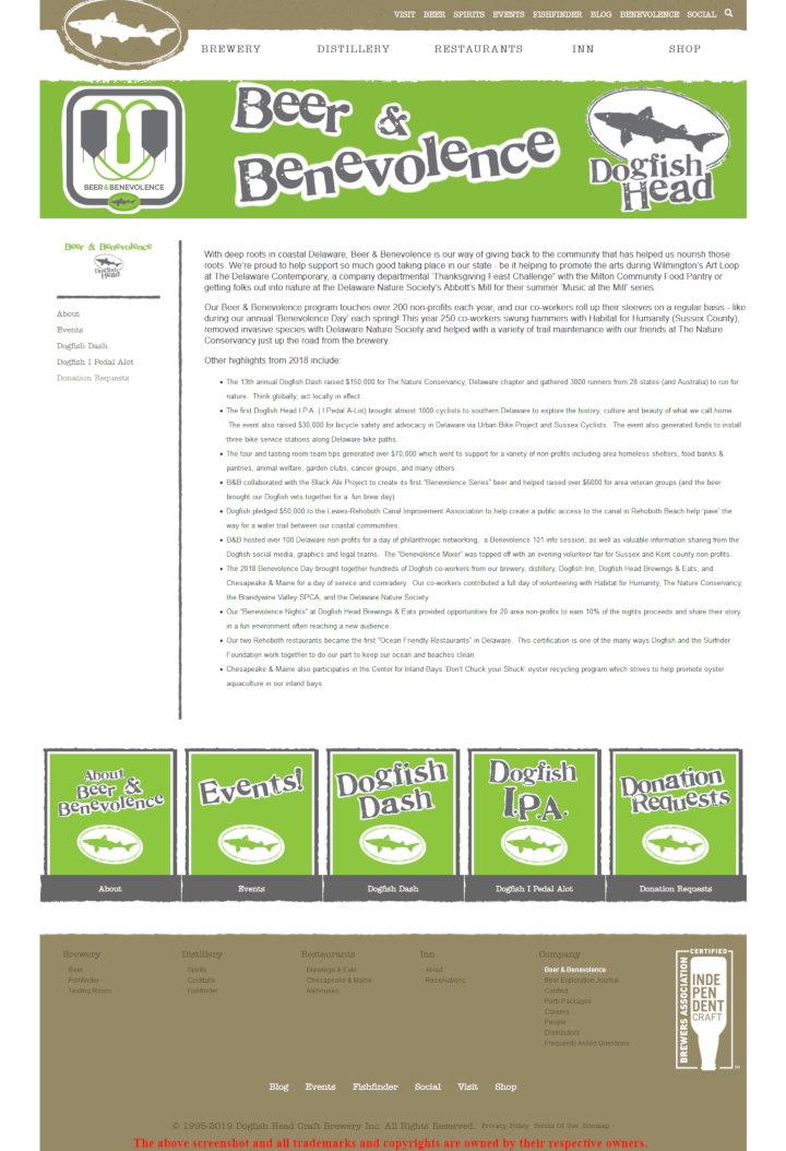 Dogfish Head info an form - https://www.dogfish.com