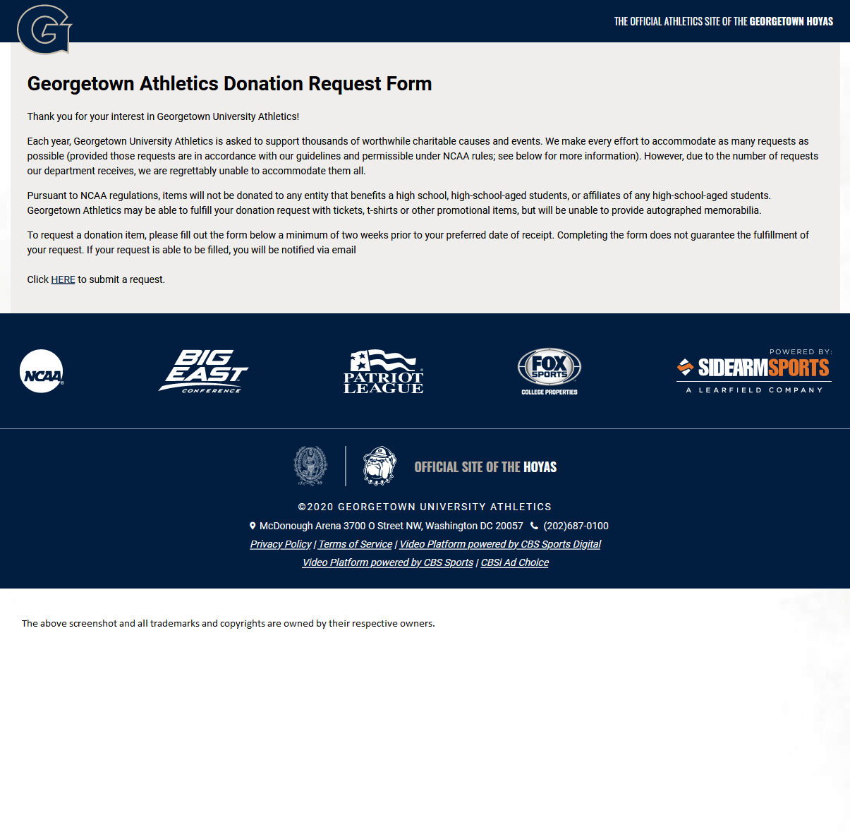 Georgetown Athletics - https://guhoyas.com/index.aspx