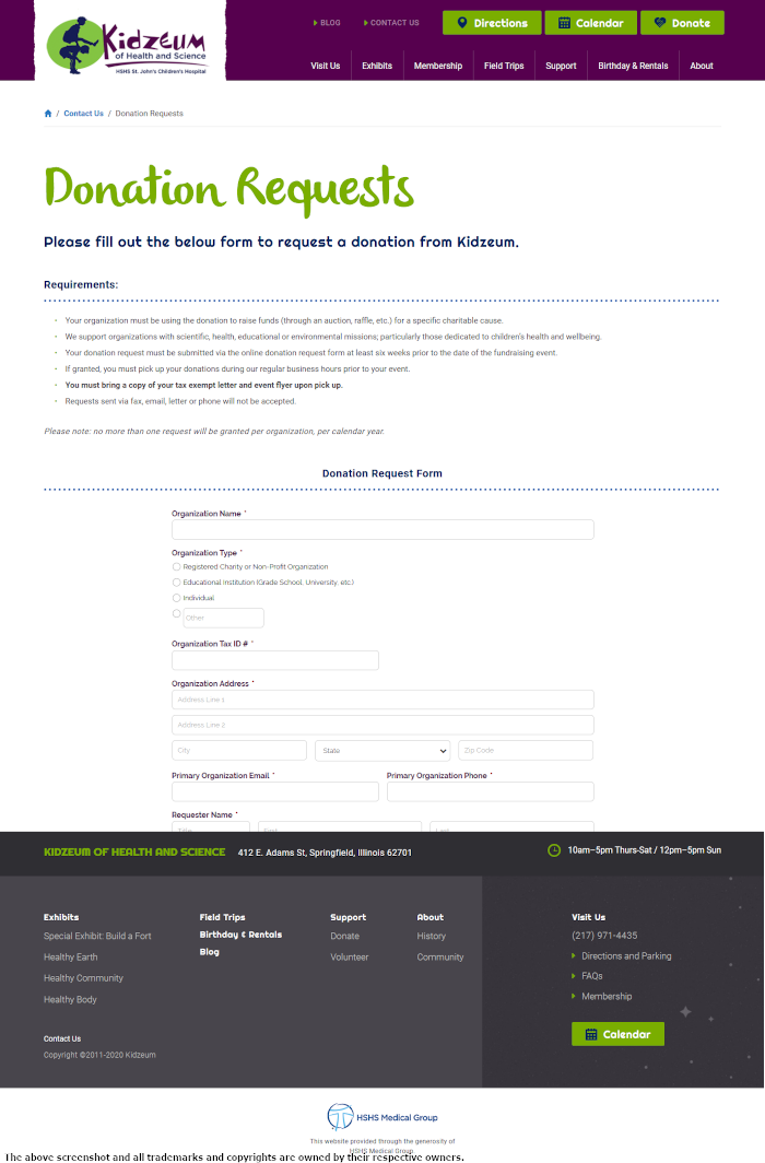 Kidzeum of Health and Science Form Page - https://kidzeum.org/