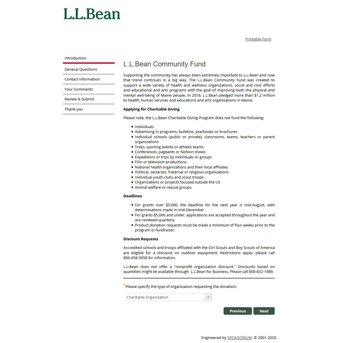 L.L.Bean Form Page - https://www.llbean.com/