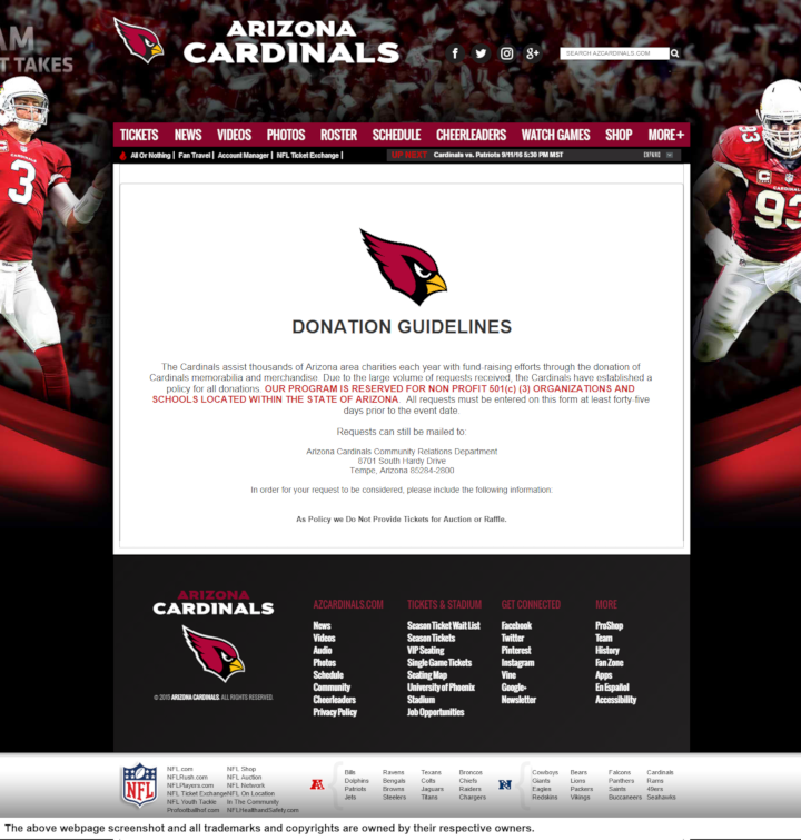 Arizona Cardinals donation info and form. http://www.azcardinals.com