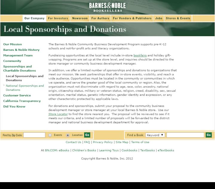Barnes & Noble donation info and form. http://www.barnesandnobleinc.com