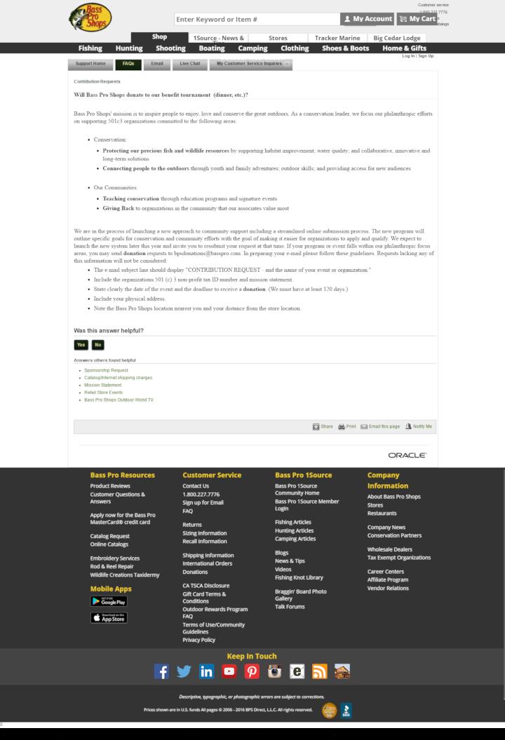 Bass Pro Shops donation info and form http://www.basspro.com
