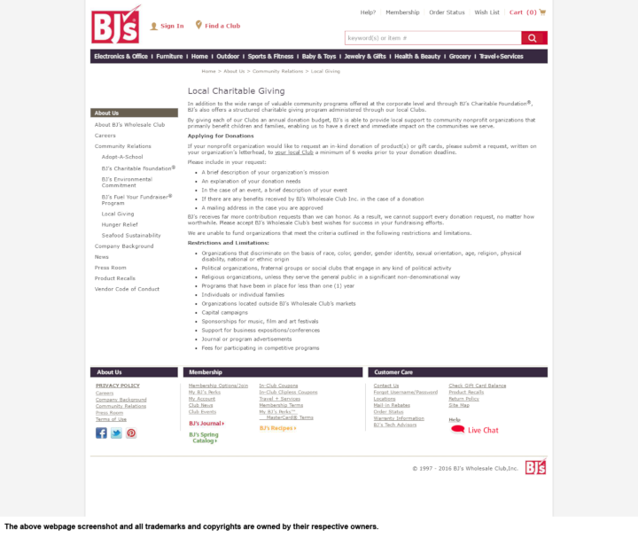 Product Donation Guide: BJ's Wholesale Club (Local)