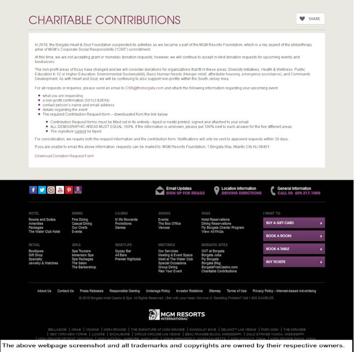 Borgata Hotel Casino & Spa donation info and form. http://www.theborgata.com