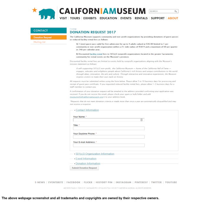 California Museum donation info and form. http://www.californiamuseum.org