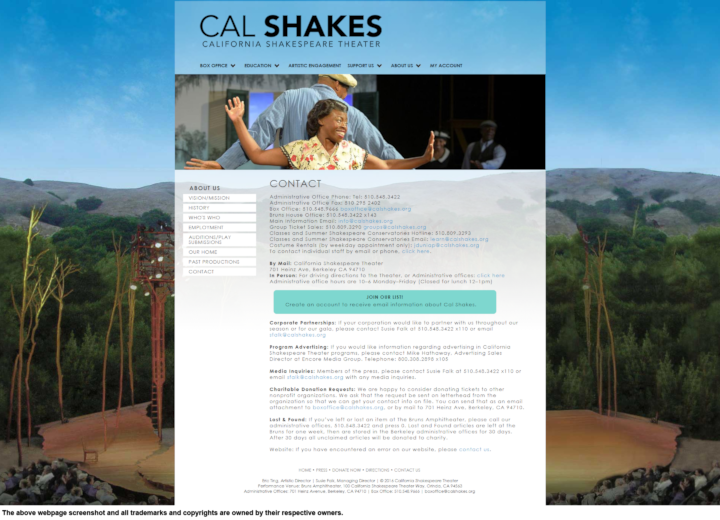 California Shakespeare Theater donation info and form. http://www.calshakes.org