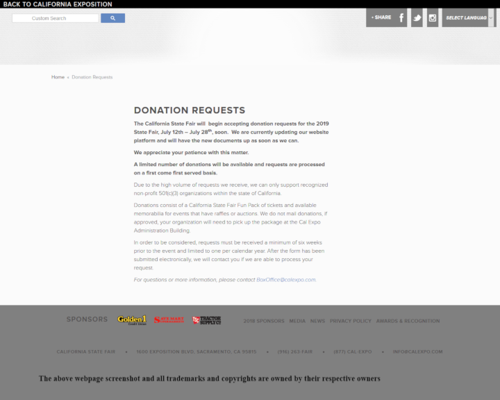 California State Fair donation info and form. http://www.castatefair.org