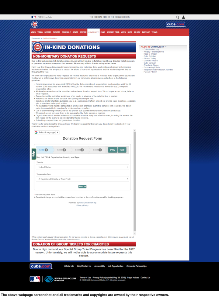 Chicago Cubs donation info and form. http://chicago.cubs.mlb.com