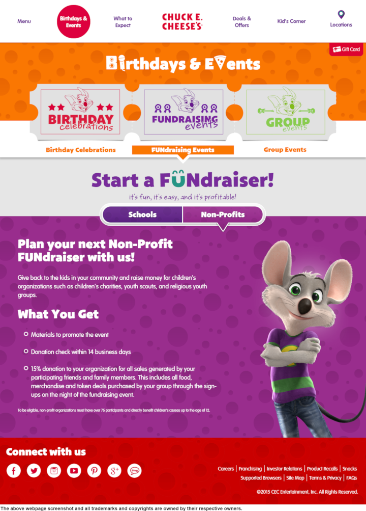 Chuck E Cheese's donation info and form. https://www.chuckecheese.com
