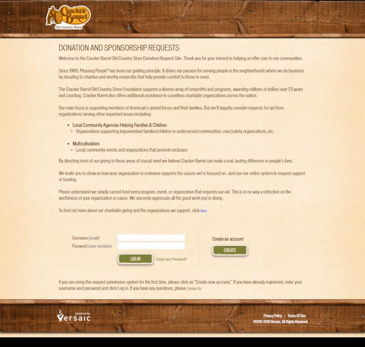 Cracker Barrel donation info and form. https://www.crackerbarrel.com