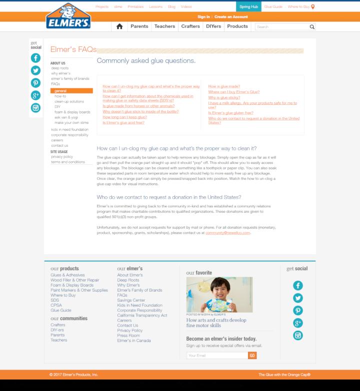 Elmer's Glue donation info and form. http://elmers.com