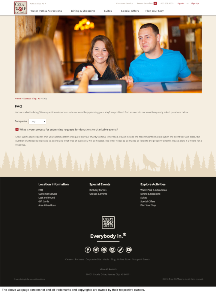 Great Wolf Lodge donation info and form. http://www.greatwolf.com