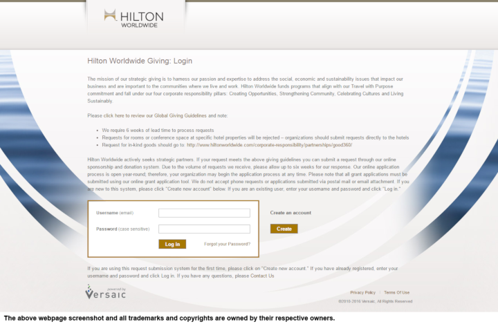 Hilton Worldwide donation info and form. http://www.hiltonworldwide.com