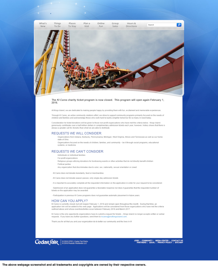 Kings Island donation info and form. https://www.visitkingsisland.com
