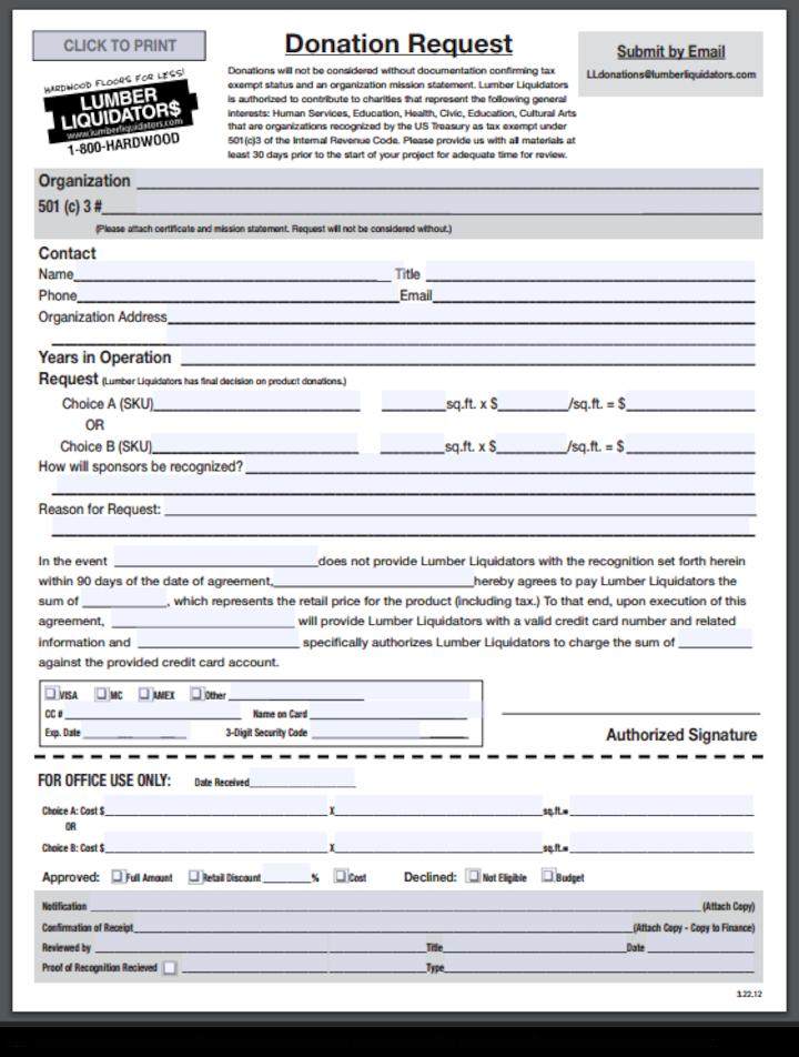 Lumber Liquidators donation info and form. http://lumberliquidators.com