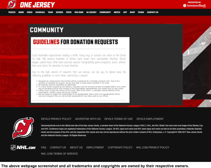 New Jersey Devils donation info and form. http://devils.nhl.com