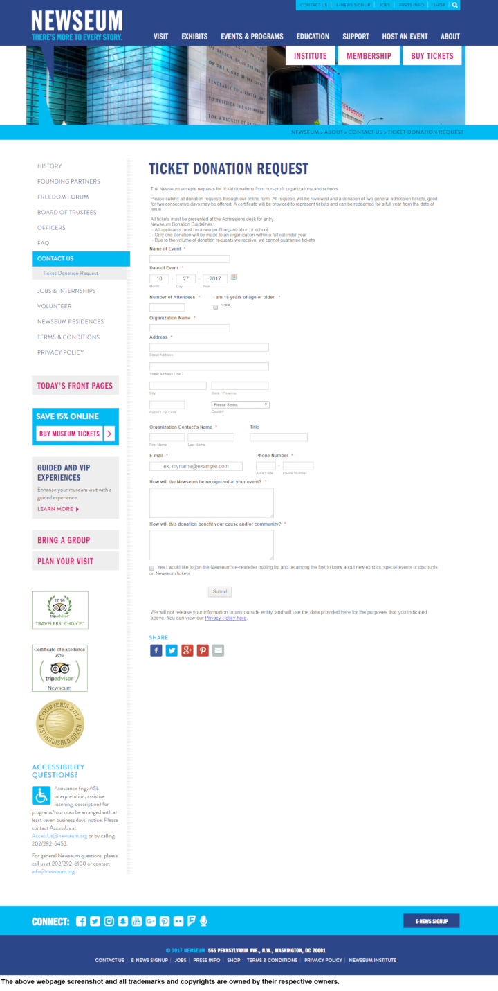 Newseum donation info and form. http://www.newseum.org
