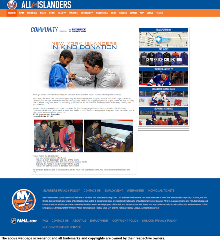 New York Islanders donation info and form. http://islanders.nhl.com