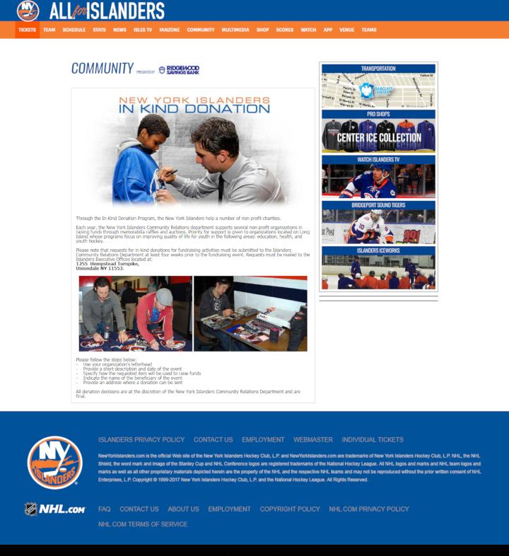 New York Islanders donation info and form. http://islanders.nhl.com