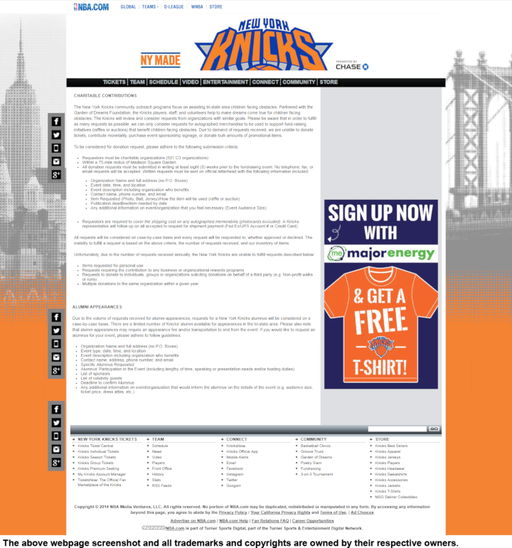 New York Knicks donation info and form. http://www.nba.com/knicks