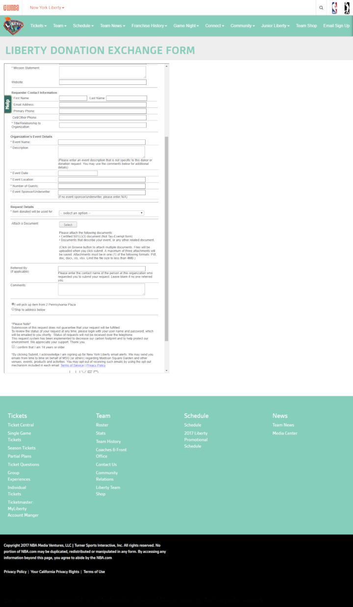 New York Liberty donation info and form. http://liberty.wnba.com