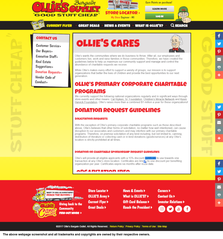 Ollie's Bargain Outlet donation info and form. http://www.ollies.us