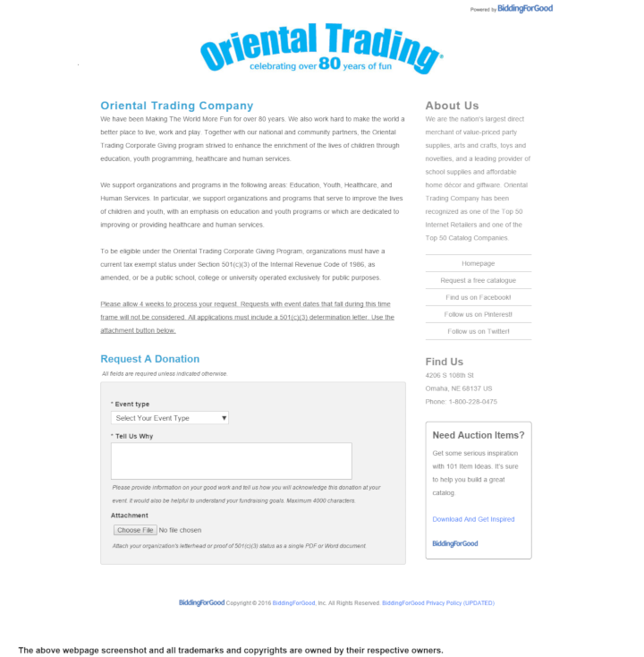 Oriental Trading Company donation info and form. http://www.orientaltrading.com