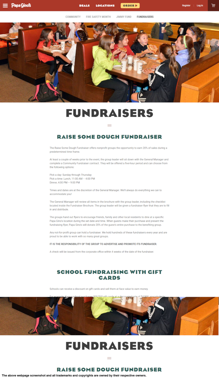 Papa Gino's donation info and form. http://www.papaginos.com