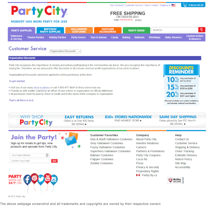 Party City  donation info and form. http://www.partycity.com
