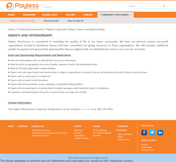 Payless ShoeSource donation info and form. http://www.payless.com