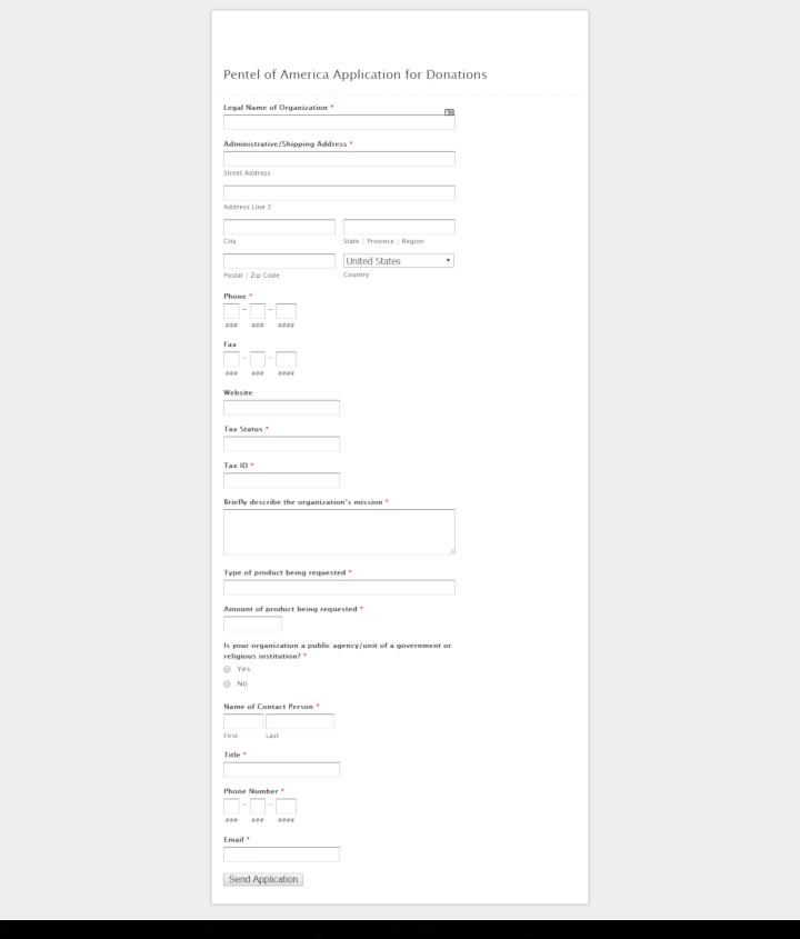 Pentel donation info and form. http://www.pentel.com