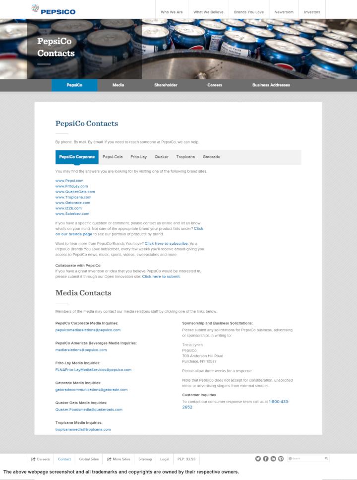 PepsiCo donation info and form. http://www.pepsico.com