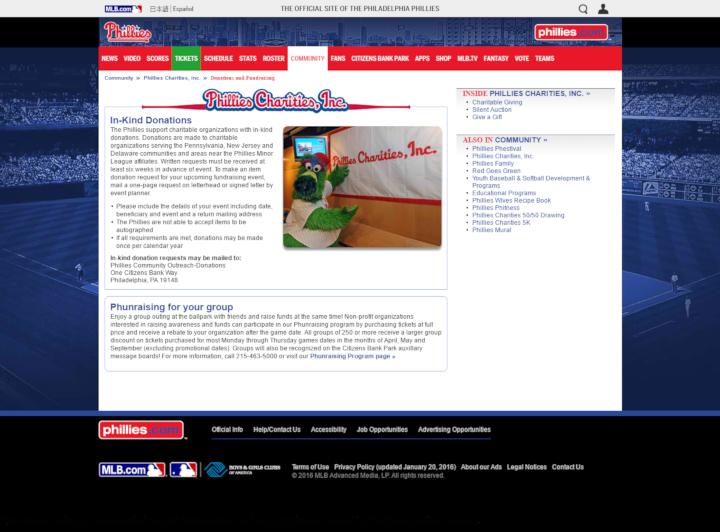 Philadelphia Phillies donation info and form. http://philadelphia.phillies.mlb.com