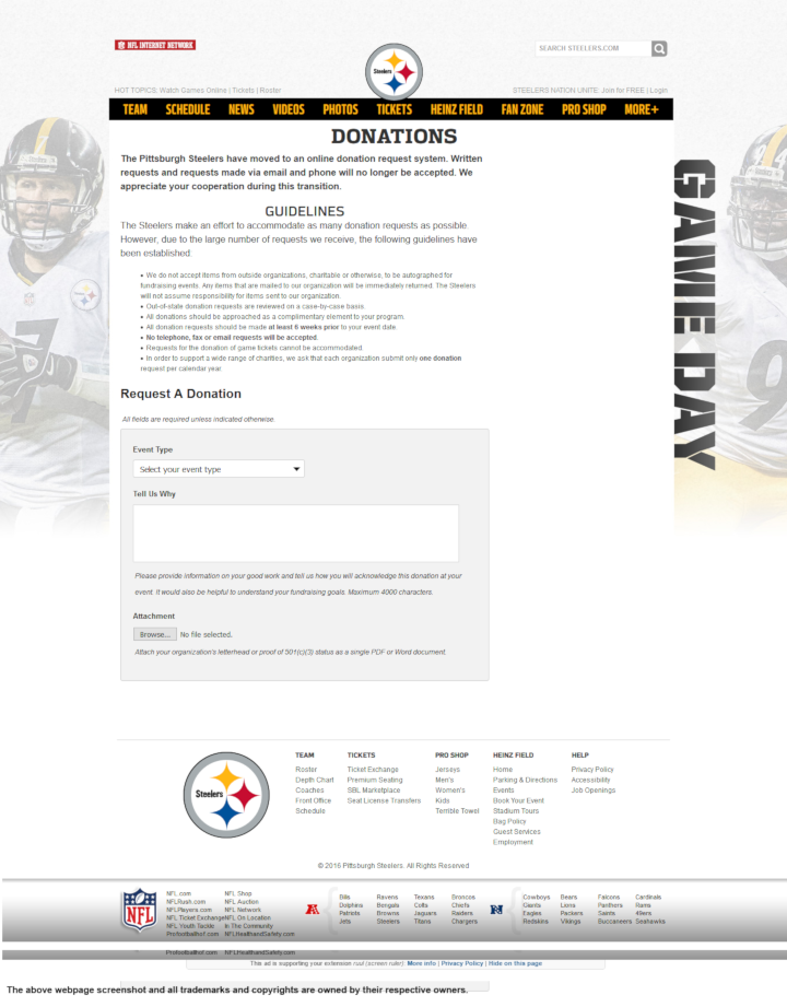 Pittsburgh Steelers donation info and form. http://www.steelers.com