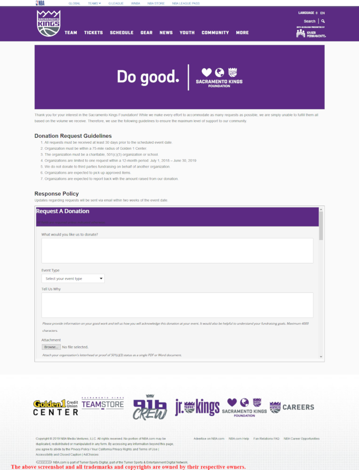 Sacramento Kings donation info and form - https://www.nba.com/kings/