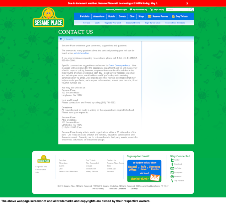 Sesame Place donation info and form. http://sesameplace.com