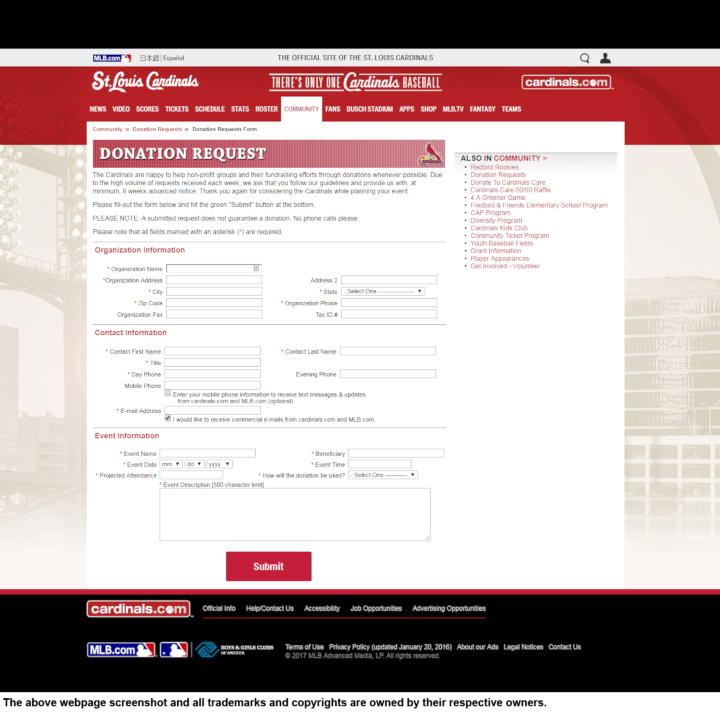 St. Louis Cardinals donation info and form. http://stlouis.cardinals.mlb.com