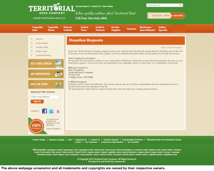 Territorial Seed Company donation info and form. http://www.territorialseed.com