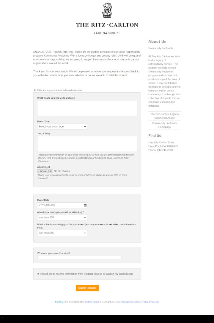 The Ritz-Carlton - Laguna Niguel donation info and form. http://www.ritzcarlton.com