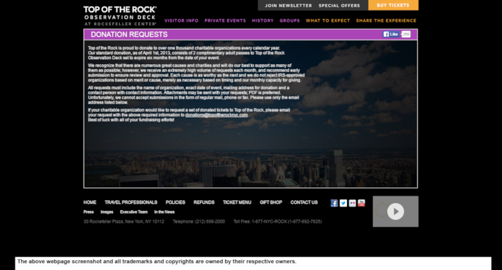 Top of the Rock Observation Deck at Rockefeller Center donation info and form. https://www.topoftherocknyc.com